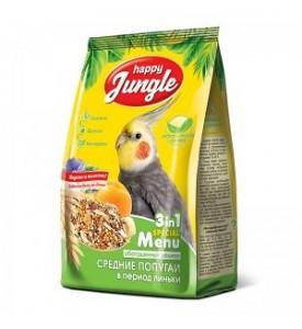 Happy Jungle  корм для средних попугаев в период линьки 500 гр