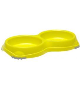Moderna миска Smarty Double двойная 2х330 мл, пластик, лимонная