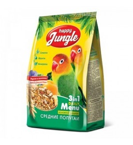 Happy Jungle корм для средних попугаев 500 гр