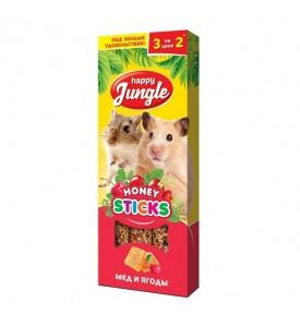 Happy Jungle Колба для мелких грызунов Мёд и Ягоды (3 палочки) 90 гр