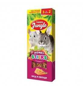 Happy Jungle Колба для крупных грызунов Мёд и Овощи (3 палочки) 90 гр