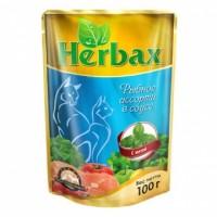 Herbax влажный корм для кошек соус  Рыбное Ассорти с Мятой 100 гр