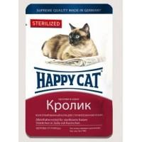 Happy Cat влажный корм для кошек соус кролик кусочки для стерилизованных кошек 100 гр