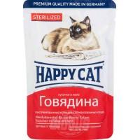 Happy Cat влажный корм для кошек желе говядина кусочки для стерилизованных кошек 100 гр