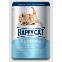 Happy Cat влажный корм для котят курочка с морковью в соусе 100 гр