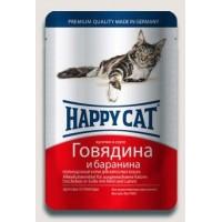 Happy Cat влажный корм для кошек соус говядина-баранина 100 гр