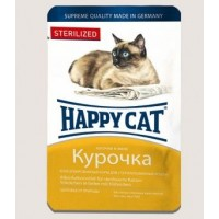 Happy Cat влажный корм для кошек  желе  курочка кусочки для стерилизованных кошек 100 гр