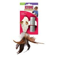 """KONG игрушка для кошек """"Мышь полевка с перьями"""" 15 см плюш с тубом кошачьей мяты"""