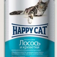 Happy Cat влажный корм для кошек желе лосось - креветки 100 гр