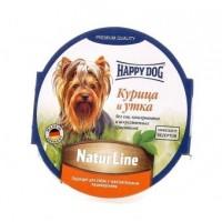 Happy Dog Natur Line влажный корм для собак курица и утка нежный паштет 85 гр