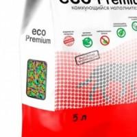 ECO Premium наполнитель для кошек древесный комкующийся Тутти-фрутти 5 л