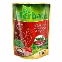 Herbax влажный корм для кошек соус  Нежная Телятина с Листьями Брусники 100 гр
