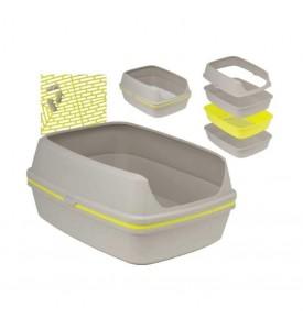 Moderna туалет-лоток с бортом и решеткой Lift to Sift 50x38x24h см, серо-лимонный