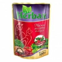 Herbax влажный корм для кошек Мясное Ассорти с Листьями Брусники 100 гр