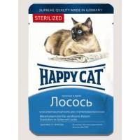 Happy Cat влажный корм для кошек желе лосось кусочки для стерилизованных кошек 100 гр
